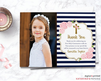 Gold Glitter Floral Photo Thank You Note