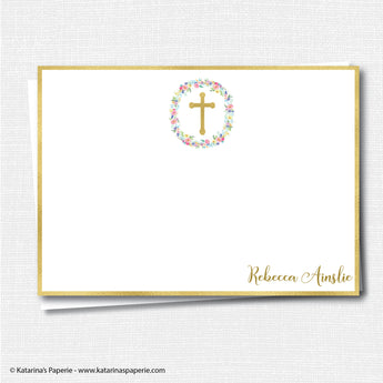 Gold Foil Cross Thank You Note