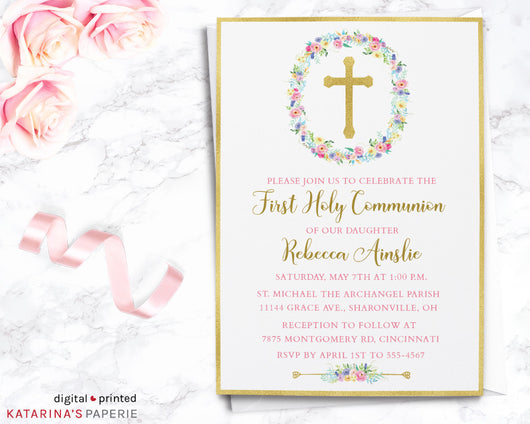 Gold Foil Cross First Communion Invitation