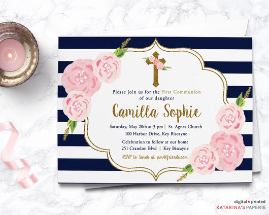 Gold Glitter Floral First Communion Invitation