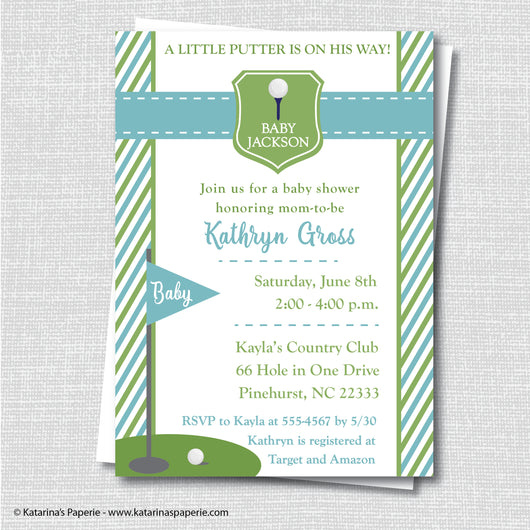 Light Blue Golf Baby Shower Invitation