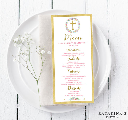 Gold Foil Cross First Communion Menu Cards