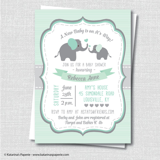 Green Elephant Baby Shower Invitation