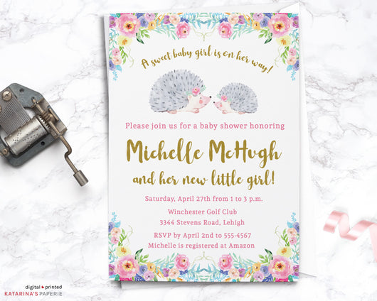 Watercolor Floral Hedgehog Baby Shower Invitation