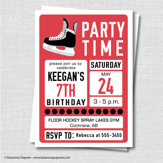 Red Hockey Birthday Invitation