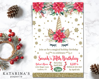 Christmas Unicorn Birthday Invitation