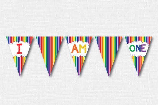 Classic Rainbow I Am One Banner - DIY