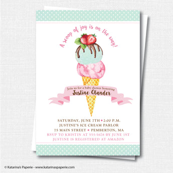 Watercolor Ice Cream Baby Shower Invitation