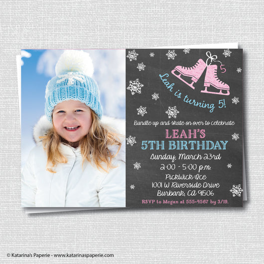 Pink Chalkboard Ice Skating Birthday Photo Invitation