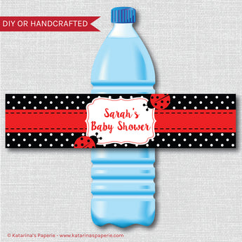 Red Ladybug Baby Shower Water Bottle Labels