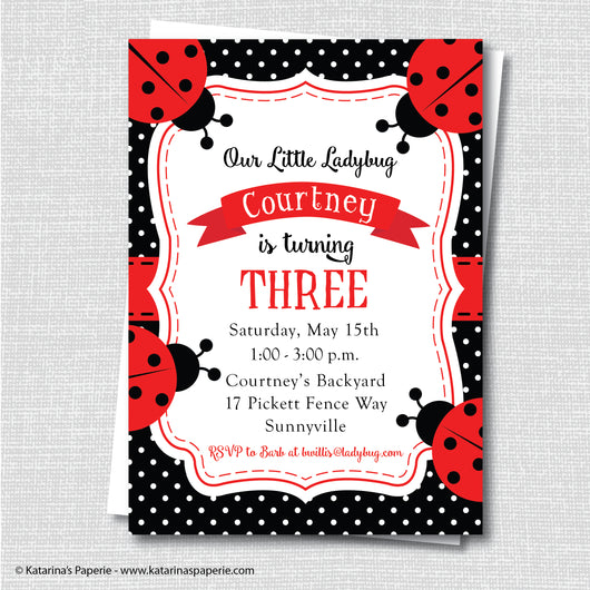 Red Ladybug Birthday Invitation