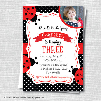 Red Ladybug Birthday Photo Invitation