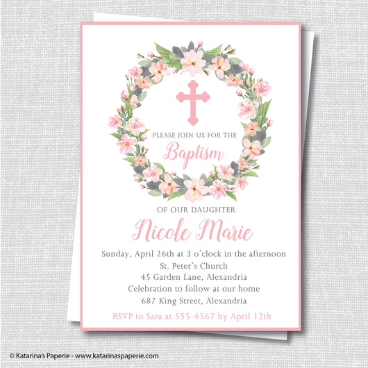 Pink Watercolor Wreath Baptism Invitation