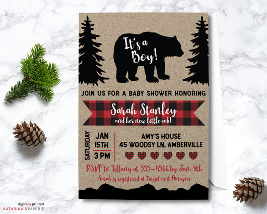 Rustic Little Cub Baby Shower Invitation