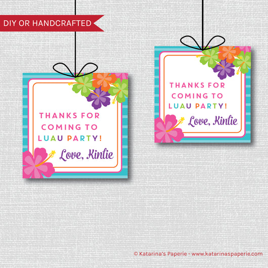 Luau Birthday Favor Tags