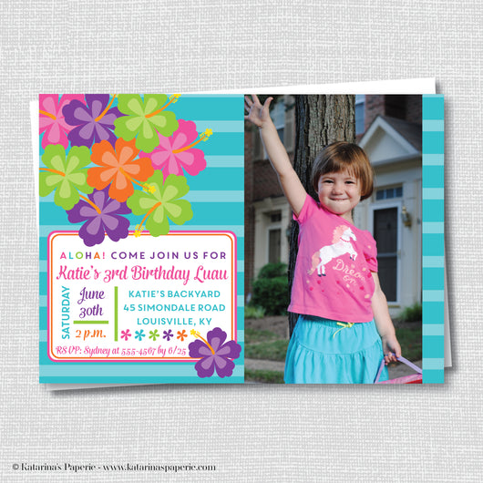 Luau Birthday Photo Invitation