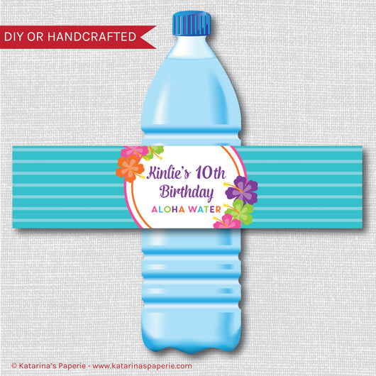 Floral Luau Water Bottle Labels