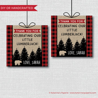 Lumberjack Baby Shower Favor Tags