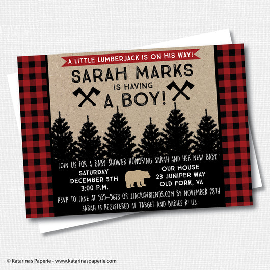 Lumberjack Birthday Invitation