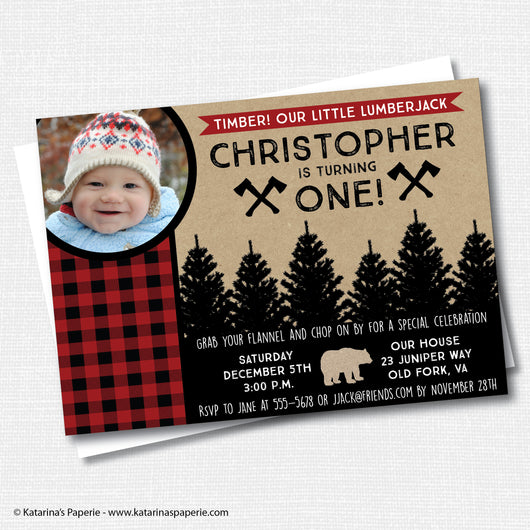 Lumberjack Birthday Photo Invitation
