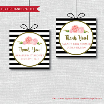 Black and White Modern Floral Baby Shower Favor Tags
