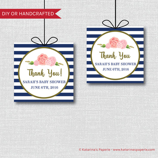 Navy Blue Modern Floral Baby Shower Favor Tags