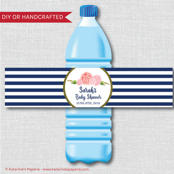 Navy Blue and White Modern Floral Water Bottle Labels