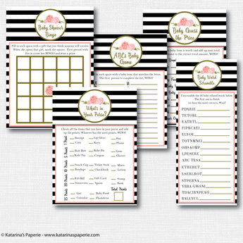 Black and White Floral Baby Shower Games Set