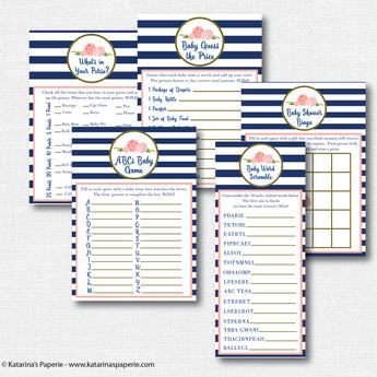 Navy Floral Baby Shower Games Set