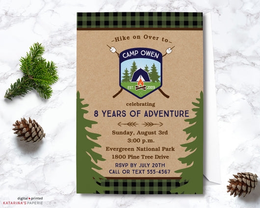 Boy Navy Blue Camping Birthday Invitation