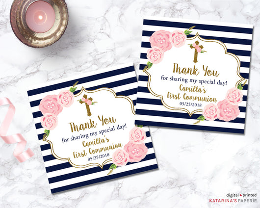 Gold Glitter Floral First Communion or Baptism Favor Tags