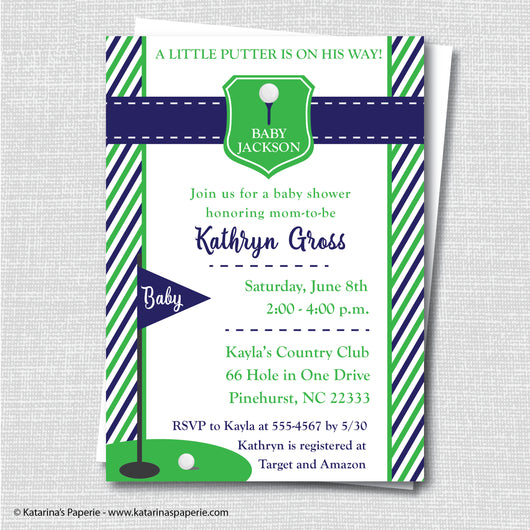 Navy Blue Golf Baby Shower Invitation