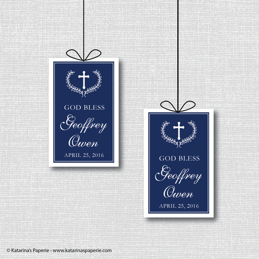 Navy Blue Formal First Communion or Baptism Favor Tags