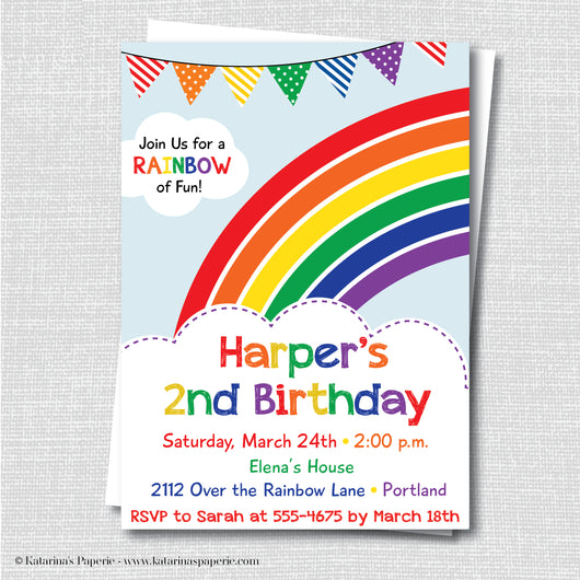 Classic Rainbow Birthday Invitation