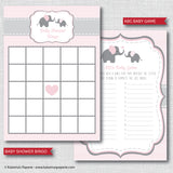 Pink Elephant Baby Shower Games Set