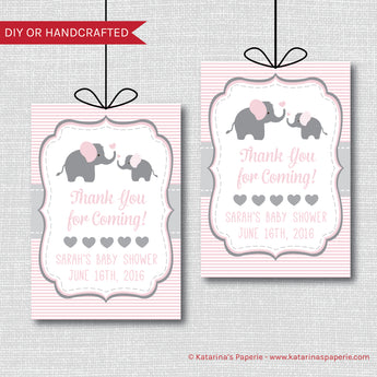 Pink Elephant Baby Shower Favor Tags