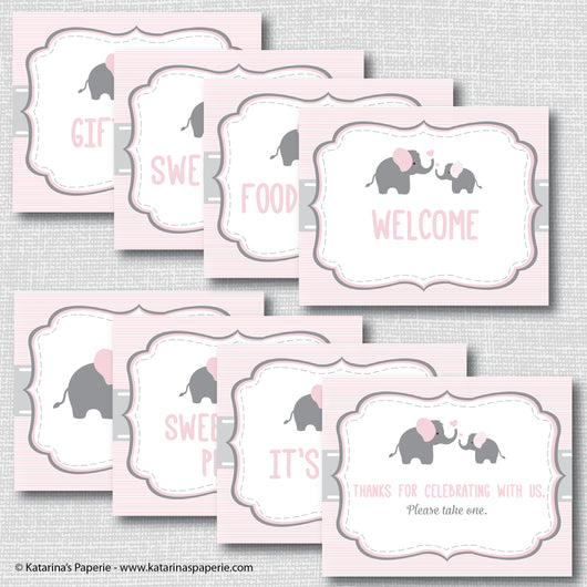 Pink Elephant Baby Shower Signs Set (Instant Download)