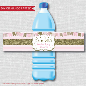 Pink and Gold Sparkle Baby Shower Water Bottle Labels