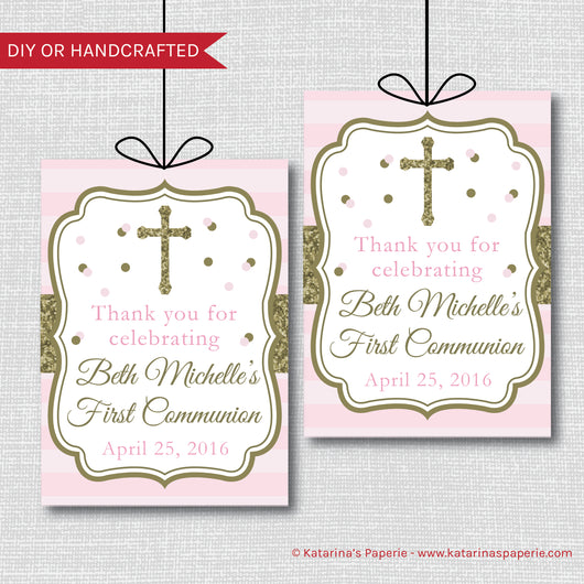 Pink and Gold First Communion or Baptism Favor Tags
