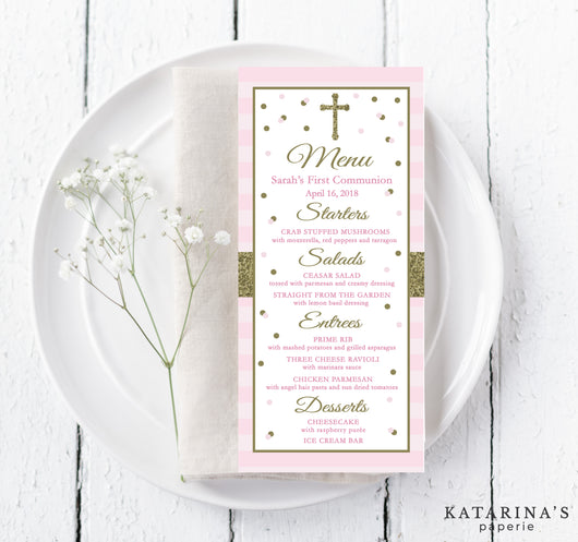Pink and Gold Sparkle First Communion Menu Cards