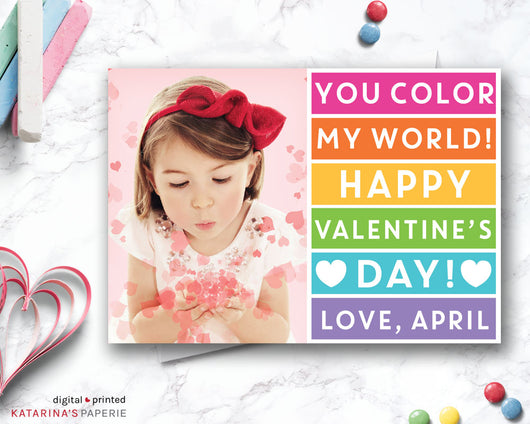 Pink Rainbow Color My World Valentine's Day Photo Card