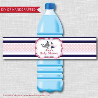 Girl Whale Baby Shower Water Bottle Labels