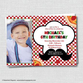 Pizza Birthday Photo Invitation