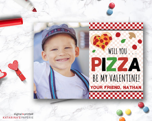 Pizza Valentine's Day Photo Card