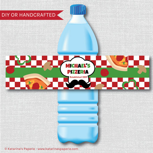 Pizza Water Bottle Labels