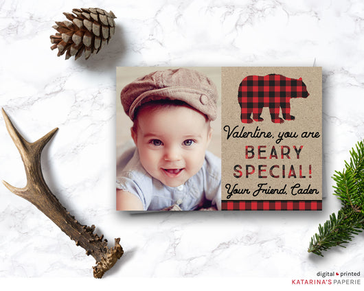 Plaid Bear Valentine's Day Photo Card