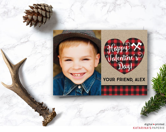 Plaid Heart Valentine's Day Photo Card