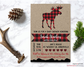 Red Plaid Moose Baby Shower Invitation