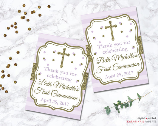 Purple and Gold First Communion or Baptism Favor Tags