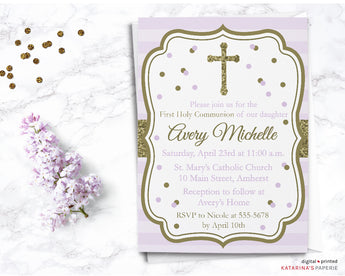 Purple and Gold First Communion Invitation